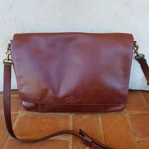 Fossil Brown Leather Briefcase